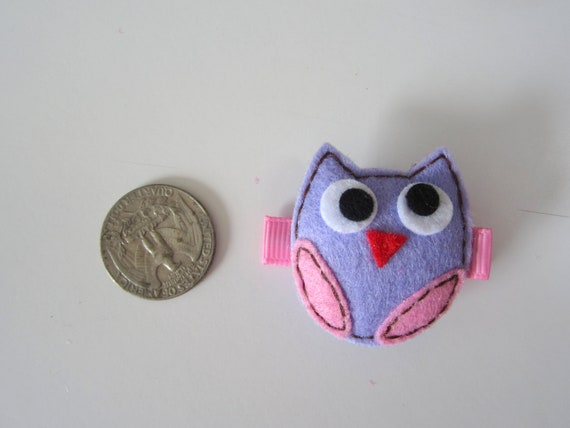 Anniversary Sale special price. Chicaboo puffy OWL hairclippy Lavender & pink felt. style10