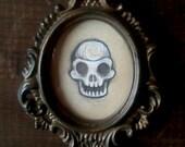 Tiny Skull Sketch - Framed Graphite