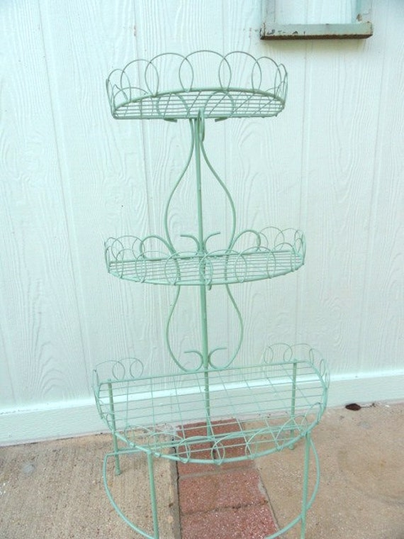 Vintage French Wire Side Table Plant Stand Curio Shelf Country Green