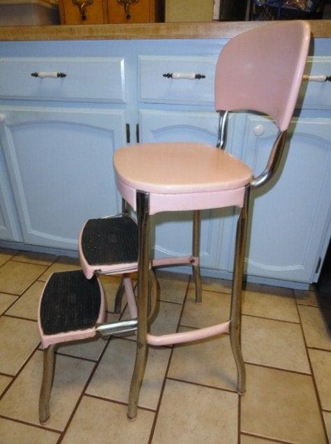 Reserved For Karen Vintage Stool Kitchen Utility Step Pink