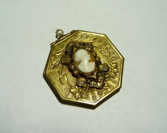 Antique Victorian Brass Cameo of Diana Locket Pendant on Etsy