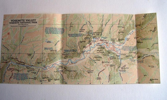 Vintage map of Yosemite National Park.  1950s  California. Use for map collage or decoupage.