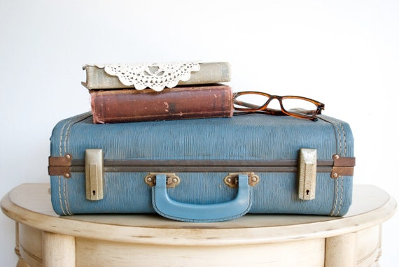 Vintage Blue Suitcase / Photo Prop / Storage Solution