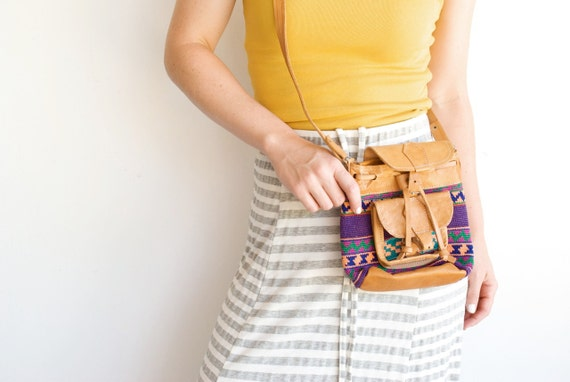 Vintage Tribal Leather and Woven Geometric Purse