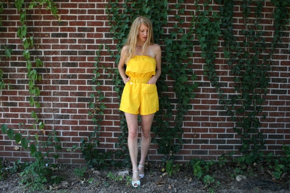80S Strapless Yellow ROMPER S M