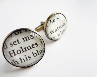 Unique Literary Cufflinks, Sherlock Holmes Cufflinks, Gifts for Him, Book Cufflinks, Sherlock Holmes Fan Gift Idea