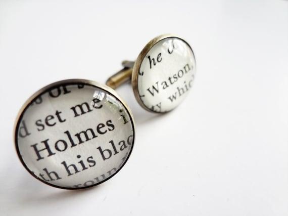 Unique Literary Cufflinks, Sherlock Holmes Cufflinks, Gifts for Him