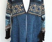 Upcycled Chenille Sweater Coat in Blue and Black - One of a Kind