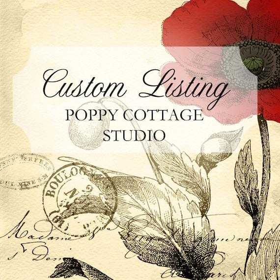 RESERVED Custom Listing Desk Vintage Cottage Style Custom PAINT to ORDER Poppy Cottage