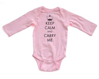 Super Cute Keep Calm and Carry ME - Black Design Unisex Long Sleeve Baby Bodysuit - Cute Baby Gift Boy's Girl's Creeper Romper Layette