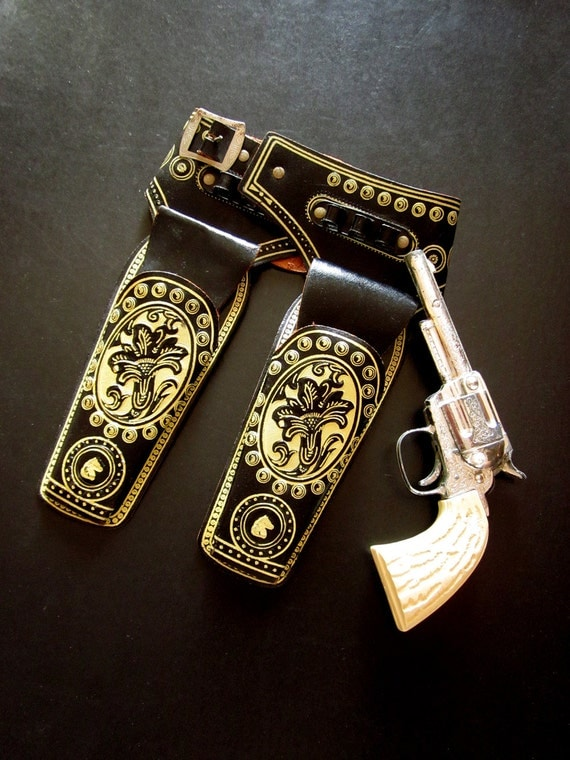 Vintage Toy Gun and Leather Holster