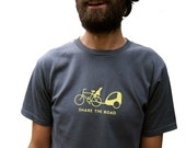 SHARE THE ROAD Mens Organic Short Sleeve Tee (m, l, xl)