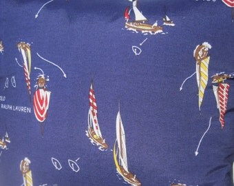 Sailboat Race Handmade Nautical Pillow Classic Lauren Designer Fabric