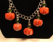 Stone Pumpkins on a vine chain necklace , Fall Necklace , Halloween Necklace