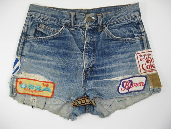 Vintage Levi Cutoff Shorts full of patches from the early 1970's Orange tab Levi's jeans Hot Pants Short Shorts
