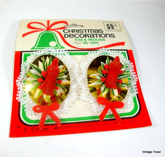 Vintage Christmas Decorations Tree And Package by VintageTinsel