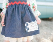 Organic denim Blue Ridge skirt - High waisted retro chic for girls - with Fierce quote gingham pocket and red ric rac