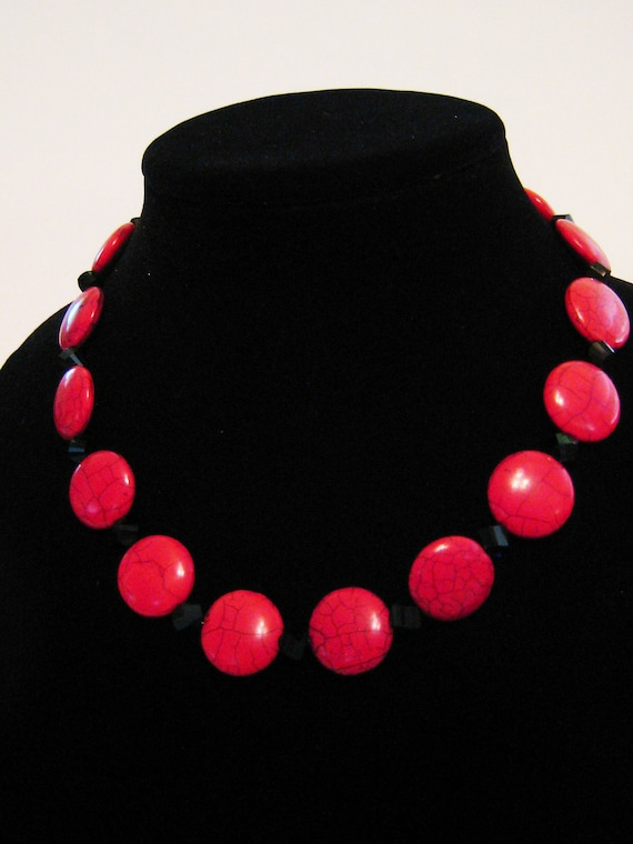 Red stone and black glass beaded Georgia bulldog inspired necklace