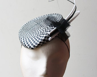 Black & White Checked Straw Percher - Great hat in my sample sale perfect for a wedding or the races