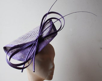 Purple & Ivory Folded Fascinator with quills - Great hat for a wedding or the races in my sample sale