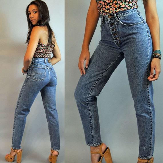 80s vintage high waist jeans / distressed PEPE denim vintage blue jeans w/ skinny taper legs & exposed button fly 27 Waist