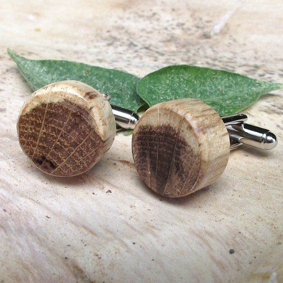 Rustic Oak Wood Cuff Links Handmade from a Real Tree Branch - Wooden Cufflinks Eco-friendly Gift for the Groom or Father - 5/8 inch Diameter