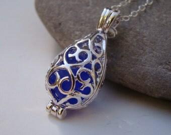 Silver Filigree Teardrop Locket  - Cobalt Blue Sea Glass Pendant Necklace