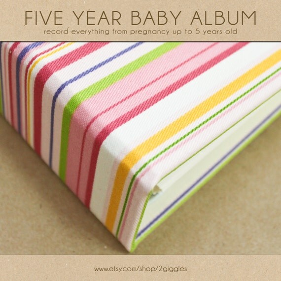 ON SALE.  Baby Book (Pregnancy - 5 years) - Rainbow Stripes  (134 designed journaling pages & personalization with every album)