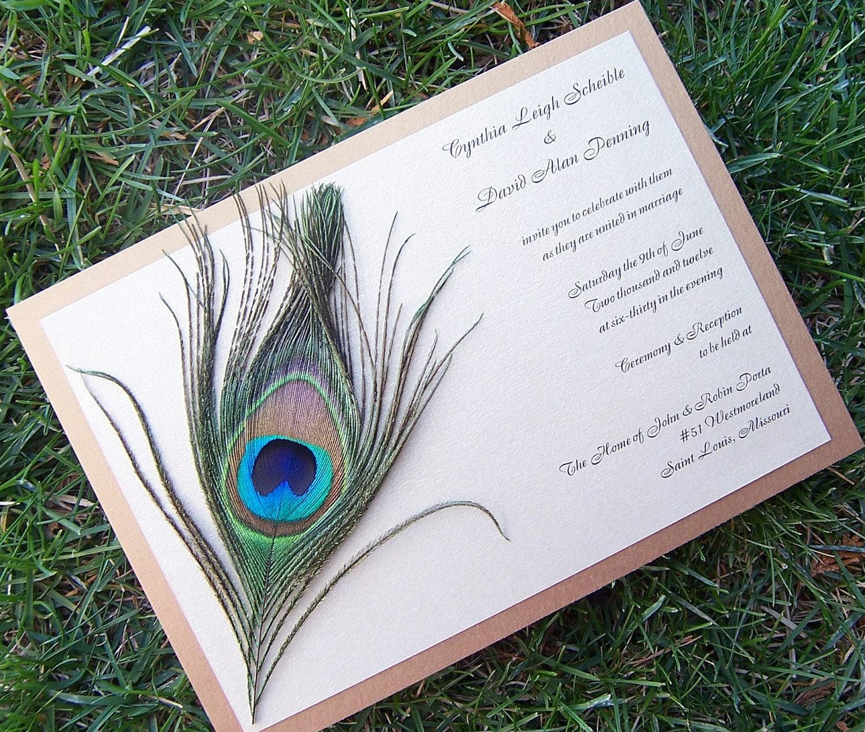 Peacock Wedding Invitations: Peacock Feather Wedding Invitation Gold Invitation Feather