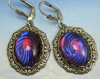 Purple Opal Earrings Dragons Breath Vintage Glass Silver Victorian Setting art deco earrings