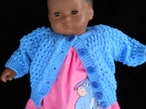 Hand Knit Sweater and  Pillowcase Dress Eeyore Spring  Outfit for American Girl Bitty Baby or Bitty Baby Twins or Waldrof Dolls
