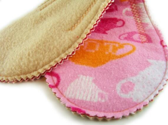 Medium Absorb Long Peanut Pad in Tea Party - Reusable Cloth Pad