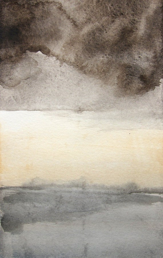 Storm - Landscape Painting - Original 5x7 Watercolor Painting - Sky - Clouds - Thunderstorm - Affordable Art - Gray - Yellow
