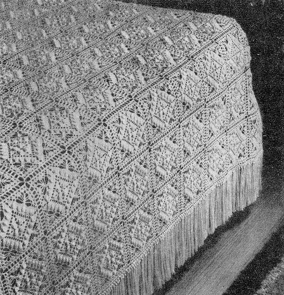 Textured Beauty Bedspread Vintage Crochet Pattern Blanket