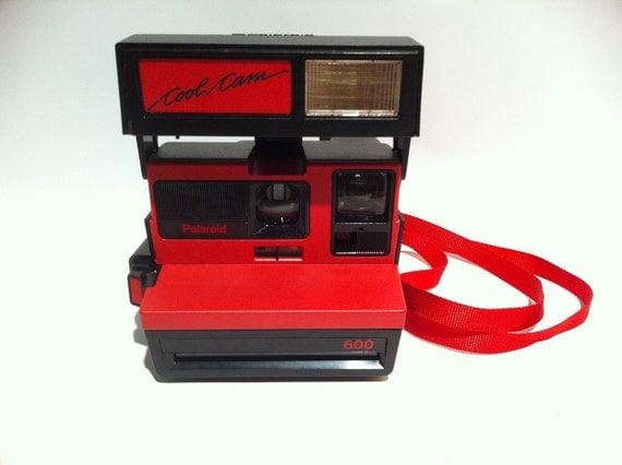Vintage Polaroid Cool Cam 600 red camera.  1980s.