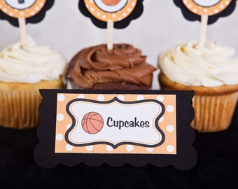 Basketball Theme Food Tents - Menu Cards - Place Cards - Food Signs - Basketball Party & Shower Decorations in Orange and Black (6)