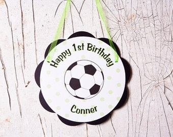 Soccer Theme Door Hanger - Soccer Birthday Party Sign Decoration in Green & Black