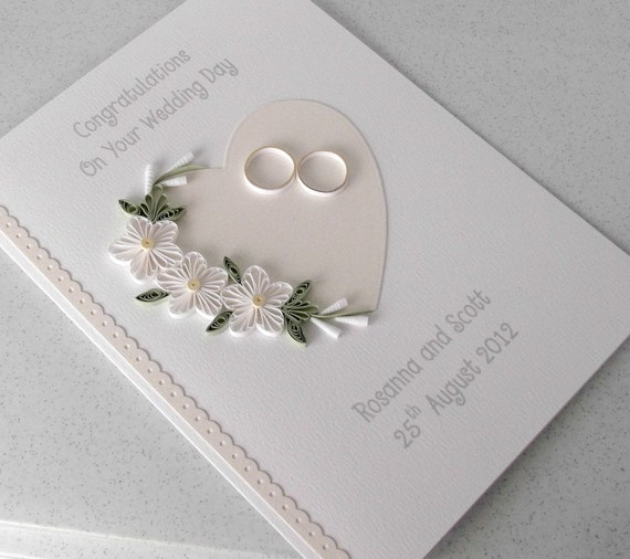 Quilled wedding day card, congratulations, personalized with names of bride and groom and date, quilled design, flowers and heart