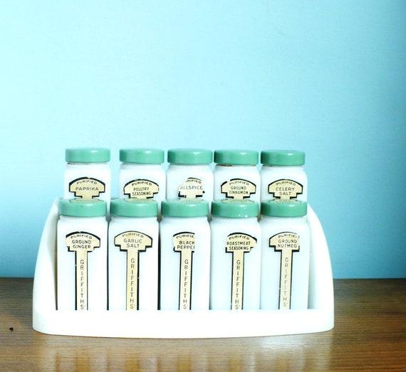 Art Deco Griffiths Milk Glass spice Jars w Rack
