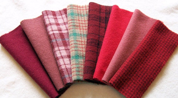 Hand Dyed Felted Wool, 6in.x 8in. - Red Textures / Solids - for Applique, Penny Rugs, Sewing Projects W1098