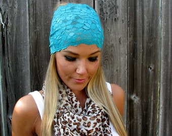 Wide Stretch Lace Fashion Headband in Teal Blue Green, Cute Girl Woman Boho Lace Adjustable Hair Band Accessories