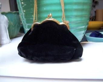 Velvet Purse Rosenfeld Original Small Black Evening Bag VINTAGE by Plantdreaming