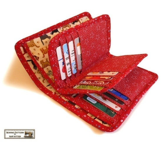 Wallet sewing pattern with 27 pockets  -- PDF Files
