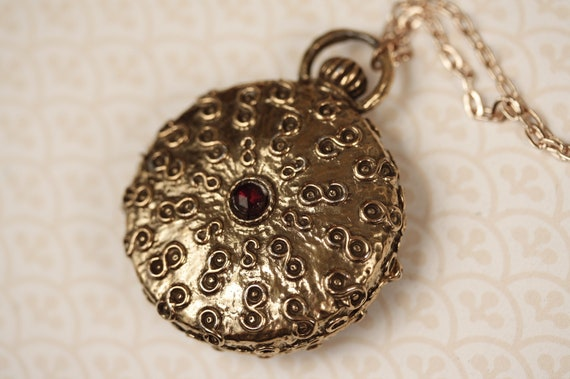 Vintage Gold Cameo Locket Necklace with Red Stones, Double Sided, Huge Floral Perfume Pendant, Long Chain