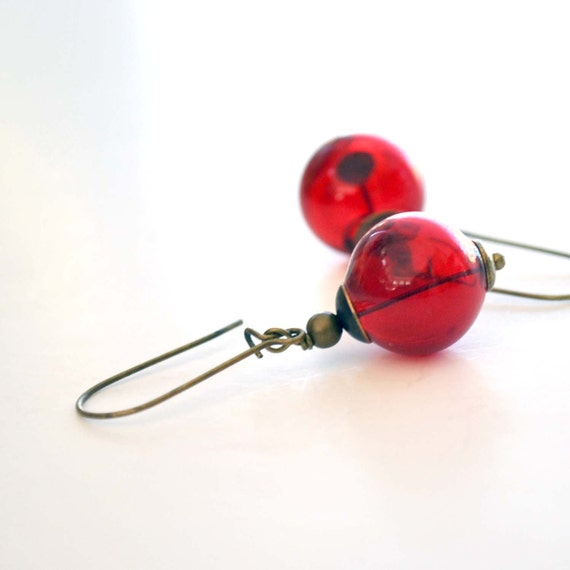 Crimson Red Hollow Glass Earrings