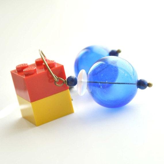 Blue Bubbles Earrings, Hollow Glass Earrings