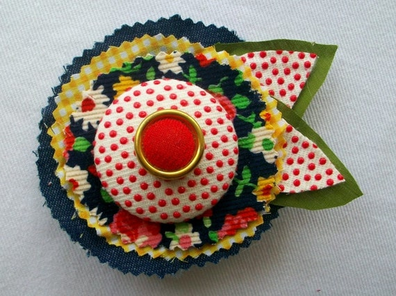 Special Listing Fabric Flower Pin Brooch or Hair Clip in Polkadot Red, Army Green, Yellow and Denim with Big Covered Button