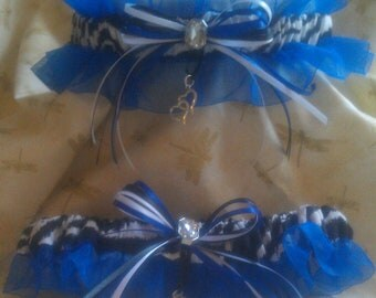 Zebra stripe wedding garter set with Blue