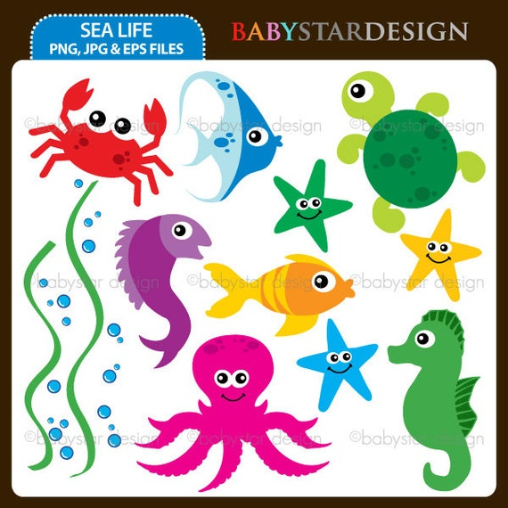 Items similar to Sea Life Digital clipart INSTANT DOWNLOAD ...