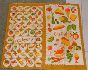 Vintage 60s Linen Kitchen Towels CALORIES Weight Watcher Kitsch